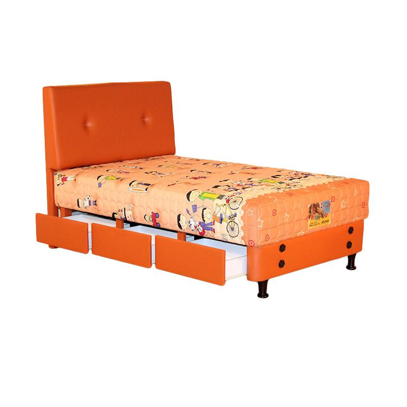 Guhdo Happy Kid Drawer HB Bravo Set Springbed - Orange [Fullset]