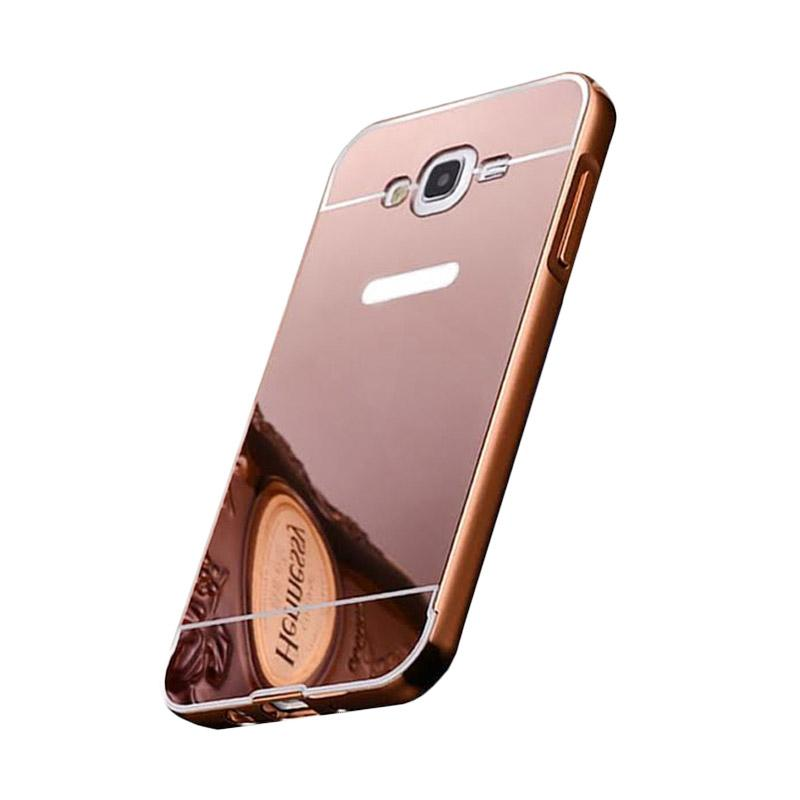 Bumper Case Mirror Sliding Casing for Samsung Galaxy E7 - Rose Gold
