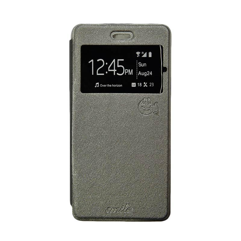 Smile Flip Cover Casing for Asus Zenfone Go mini ZC451TG - Abu-abu