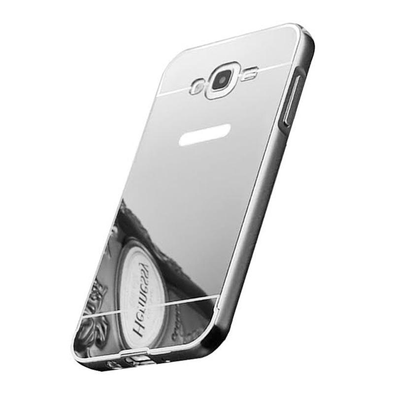 Bumper Mirror Sliding Casing for Samsung Galaxy ON7 - Silver