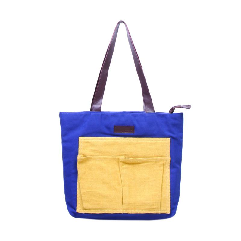 Machupicchu BTO13 Canvas Tote Bag Tas Wanita - Blue Yellow