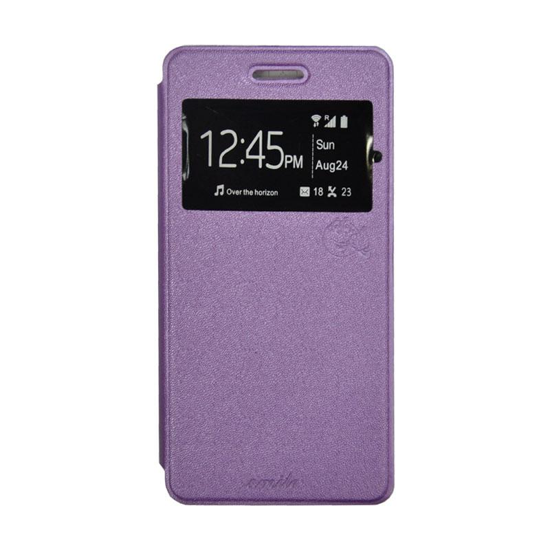 SMILE Standing Flip Cover Casing for Infinix Hot 3 X553 - Purple