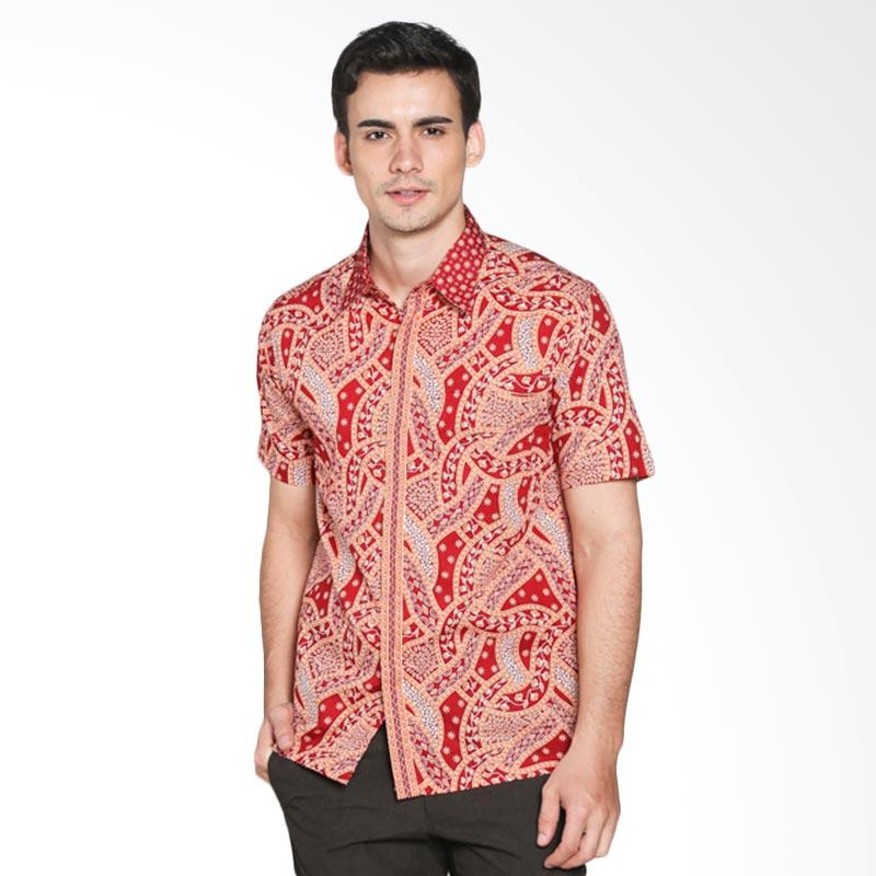 harga Arjunaweda Men 53219066 Hem Batik Beras Ombak Silang - Merah Blibli.com