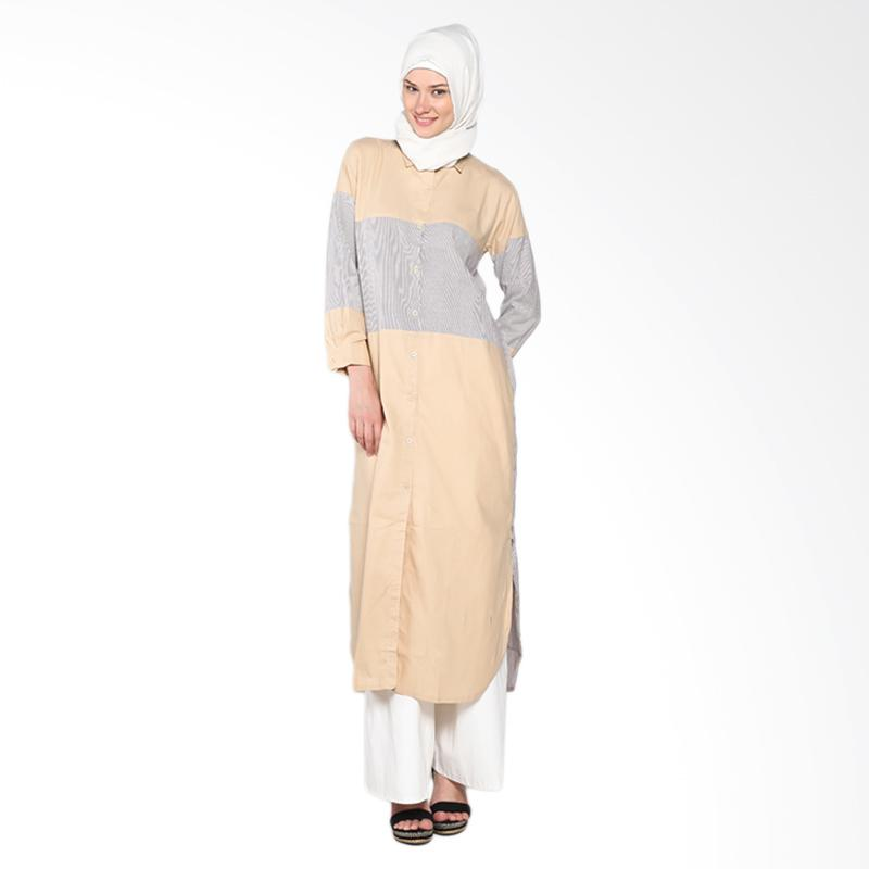 Chick Shop CO-66-02-Kr Sandwich Long Tunik Atasan Muslim - Cream