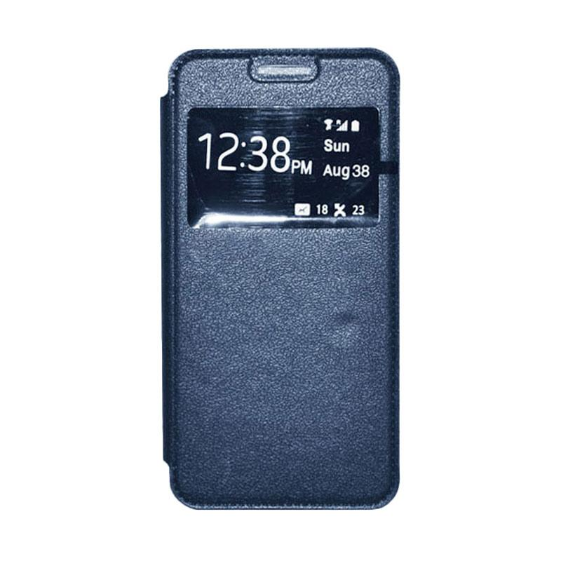 OEM Leather Book Cover Casing for Samsung Galaxy Note Edge - Navy