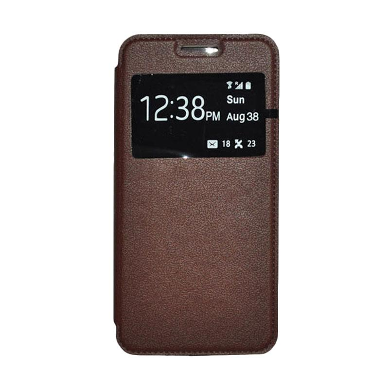 OEM Leather Book Cover Casing for Sony Xperia Z3 Compact - Brown