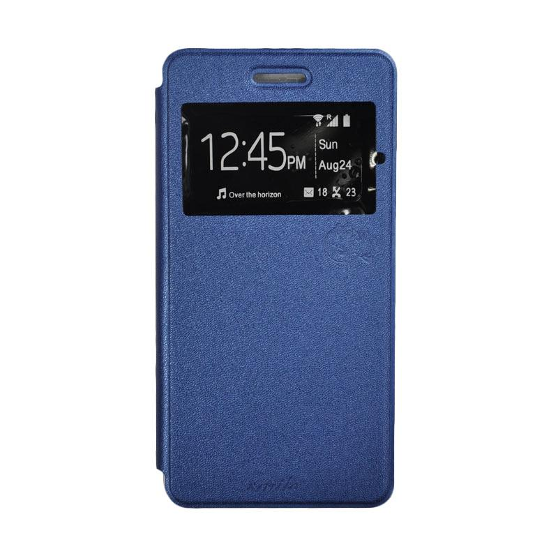 SMILE Standing Flip Cover Casing for Infinix Hot 3 X553 - Deep Blue