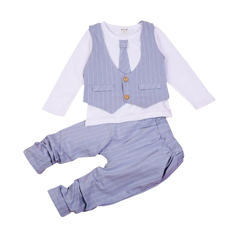 Chloe Babyshop F966 Toxedo 3in1 Dasi Panjang Stripe - Grey