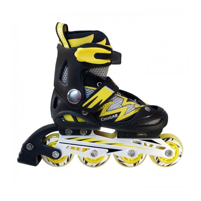 harga Cougar W/ABEC7 MS835L ADJ Junior Inline Skate Sepatu Roda - Black Yellow [Size 30-33] Blibli.com