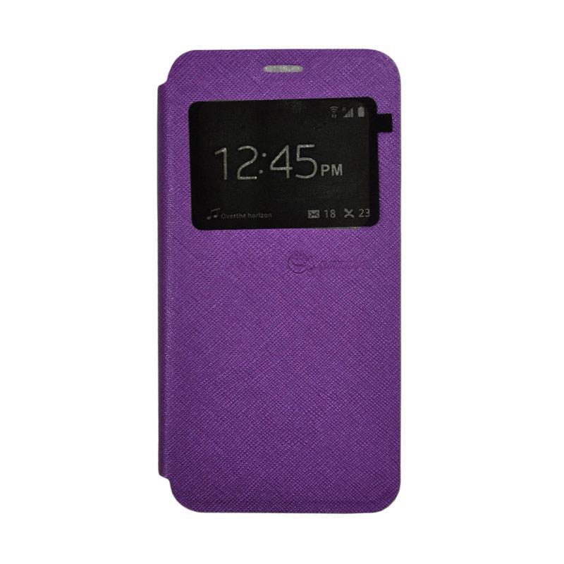 Smile Leather Standing Flip Cover Casing for Vivo V5 - Purple