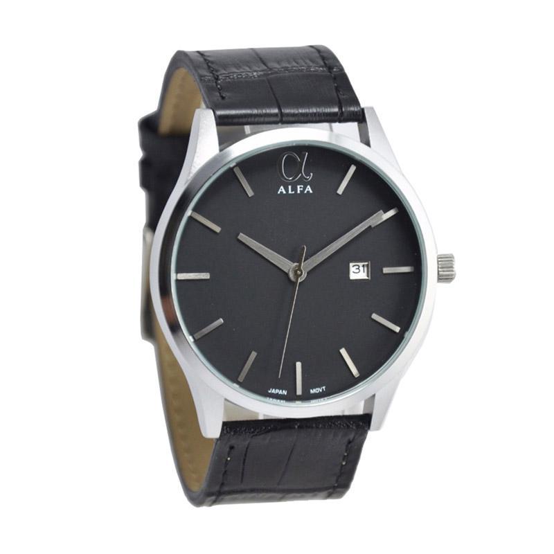 Alfa H170D45AL55010MHTMSH Gentleman Colection Jam Tangan Pria - Black Silver