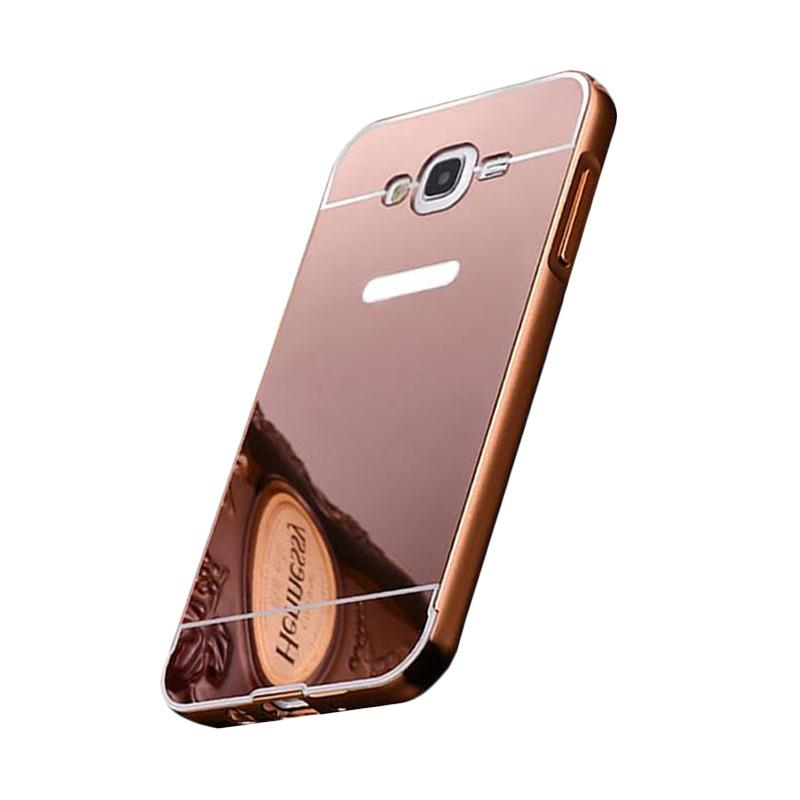Bumper Case Mirror Sliding Casing for Samsung Galaxy J7 - Rose Gold