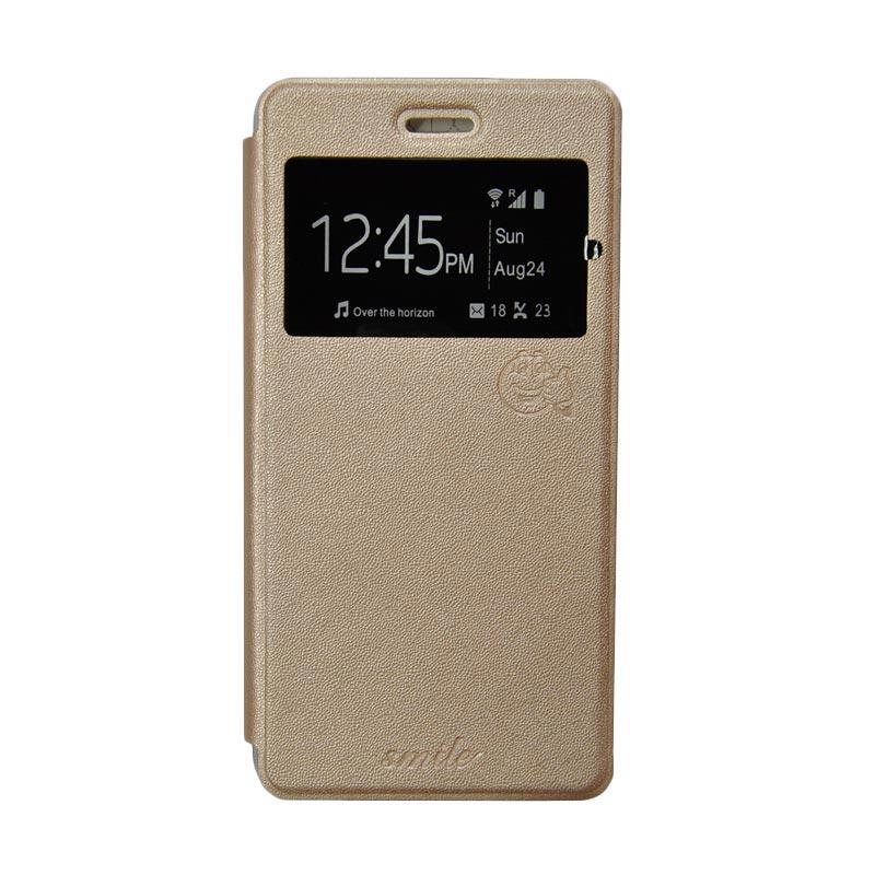 Smile Flip Cover Casing for Samsung Galaxy Grand Prime G530 - Gold