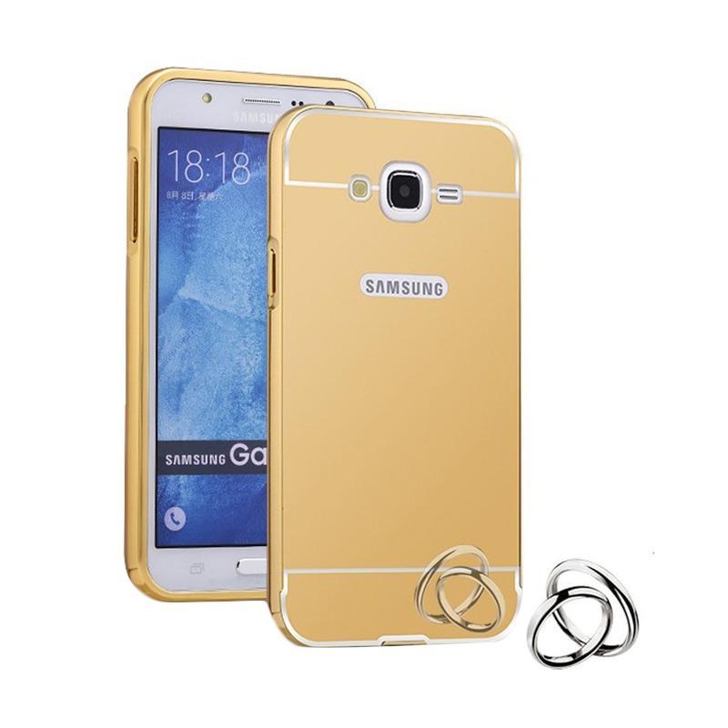 Case Bumper Metal with Back Case Sliding Casing for Samsung Grand Prime Plus - Gold