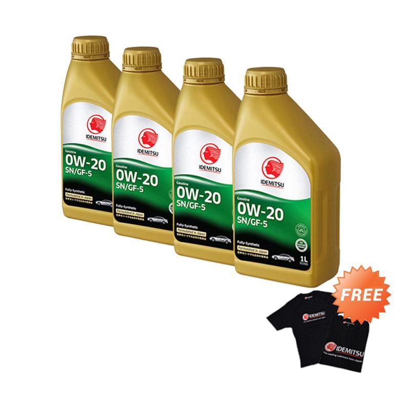 Idemitsu SN/GF-5 0W-20 Full Synthetic Pelumas Mobil [4 botol x 1 L] + Free Kaos
