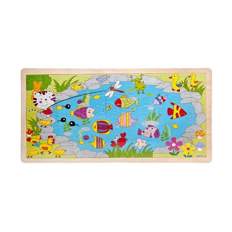 Pusat Mainan Anak PMA Kolam Ikan Puzzle Kayu [96 pcs]