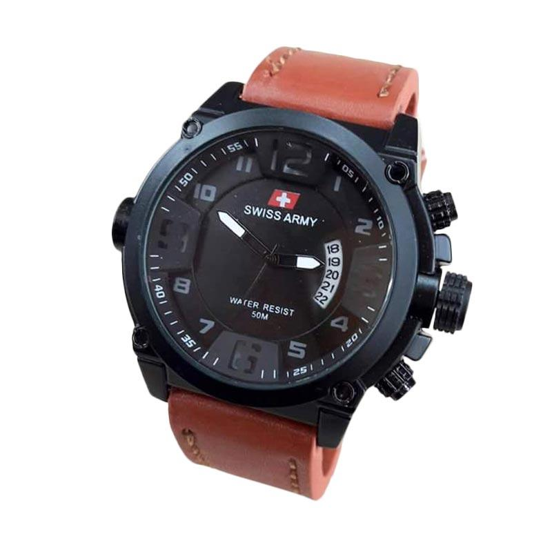 Swiss Army SA 34 AD Leather Strap Elegant Jam Tangan Pria