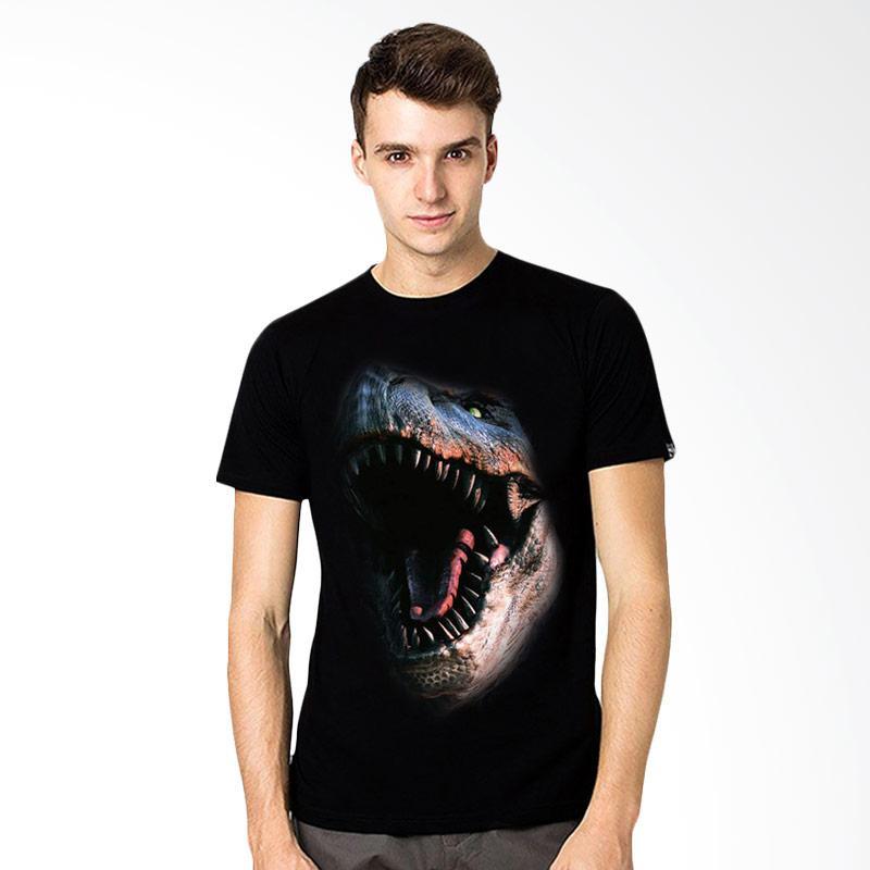 harga T-SHIRT GLORY 3D Fight Dinosaurus Kaos Pria - Hitam Blibli.com