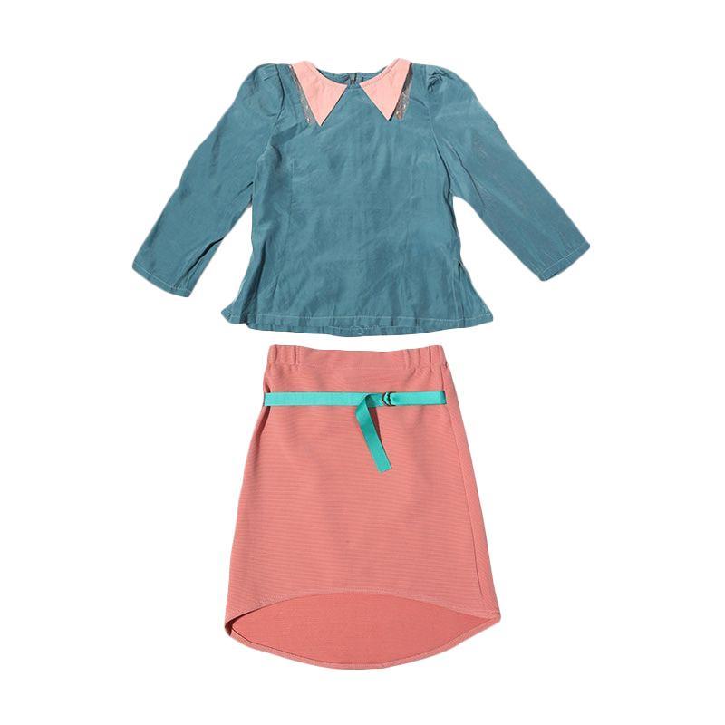 Adel & Audrey Top & Skirt 074 Setelan Anak Perempuan - Blue Pink