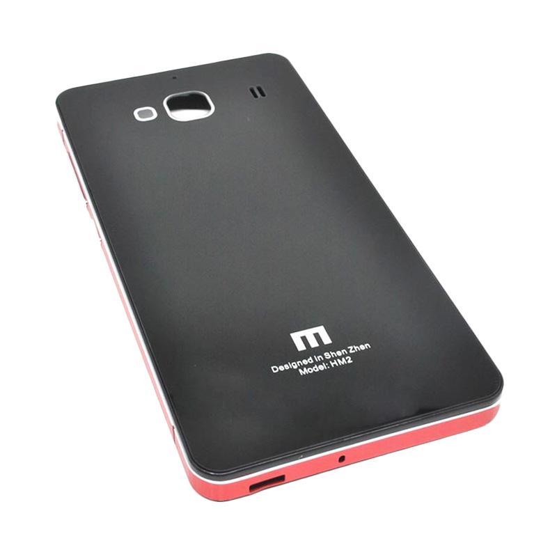 Jual JAGOSTU Back Door Glass Hardcase Casing for Xiaomi Redmi 2 Prime - Black Red Online