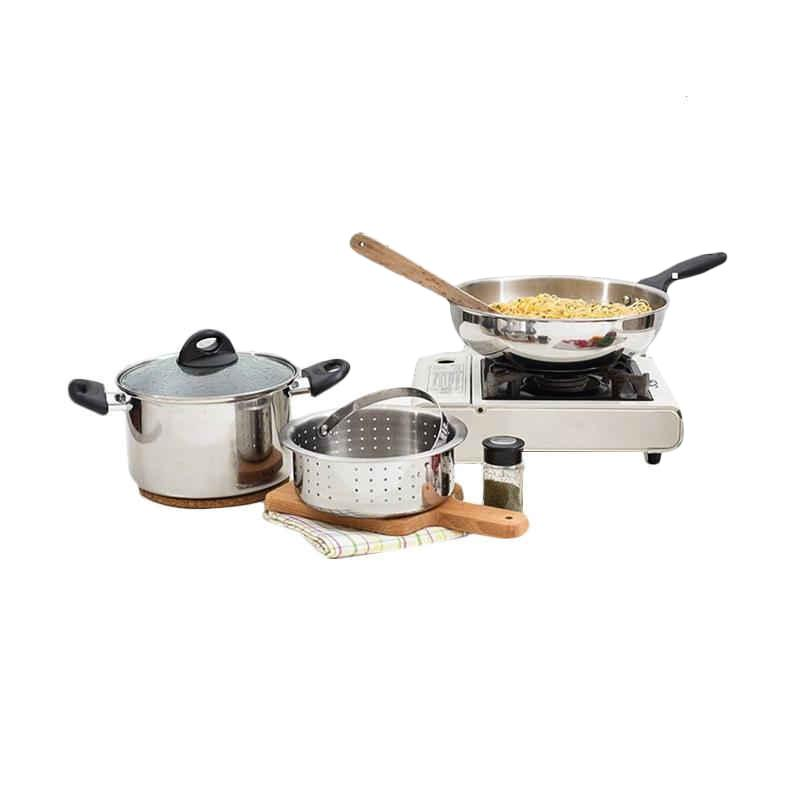 Homecook Piece Cookware Set Alat Masak - Silver [4 pcs]