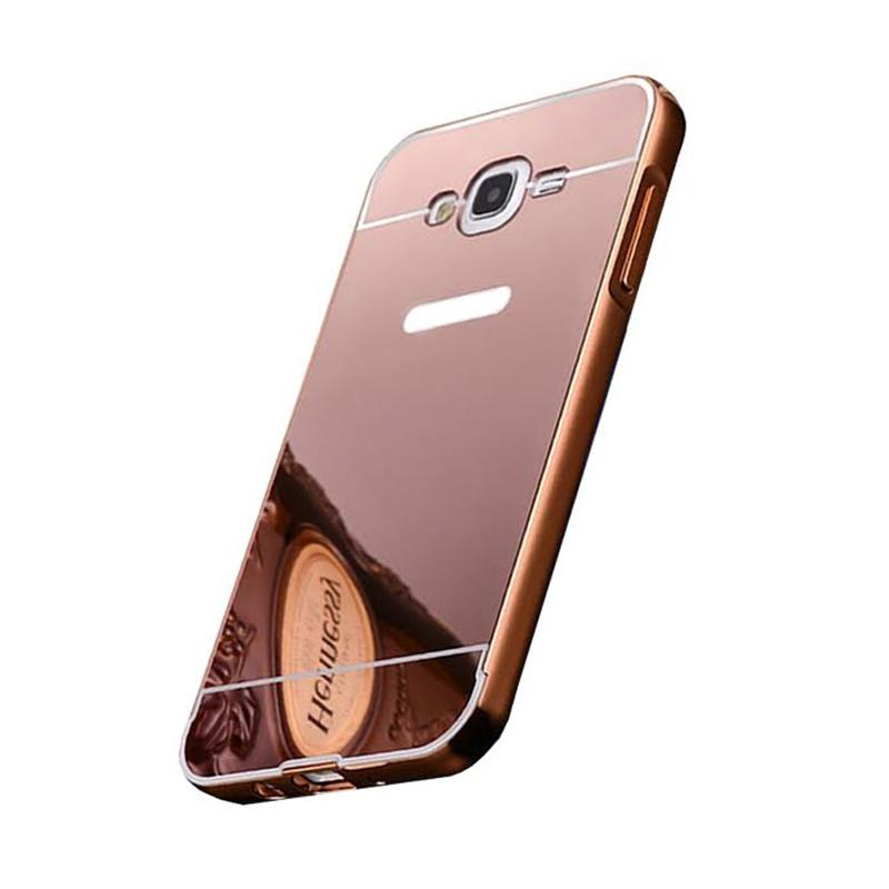 Bumper Case Mirror Sliding Casing for Samsung Galaxy J1 2016 - Rose Gold