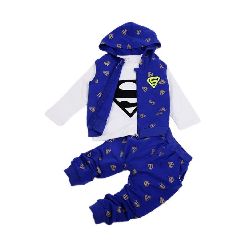 Chloebaby Shop 3 in 1 Superman F960 Setelan Pakaian Anak - Blue