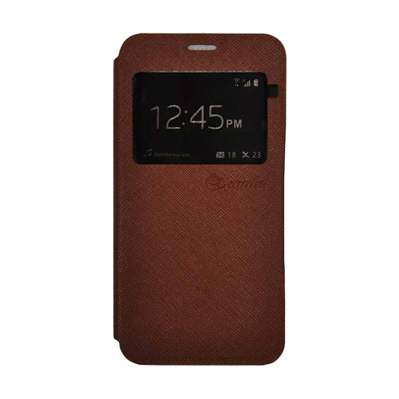 SMILE Standing Flip Cover Casing for Xiaomi Mi 5s Plus - Brown
