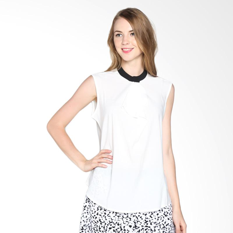 PS Career PC603RW50445 Layer Neck Blouse - White