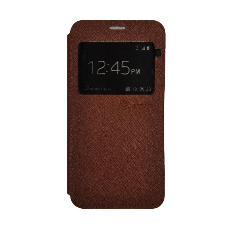 SMILE Standing Flip Cover Casing for Samsung Galaxy A5 2017 - Brown