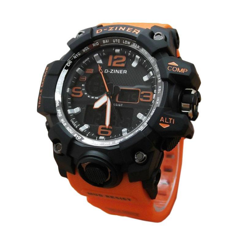 D-Ziner DZ 0533 Dual Time Jam Tangan Pria Strap Karet - Orange Hitam