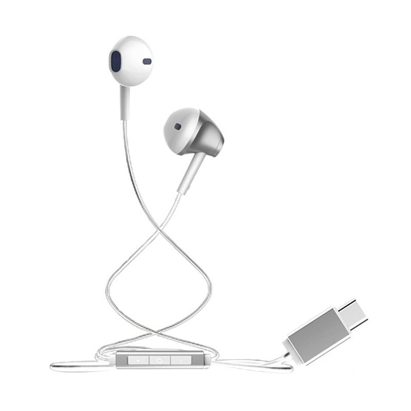 Baseus B51 Digital Type-C Wire Control Earphone - Silver White