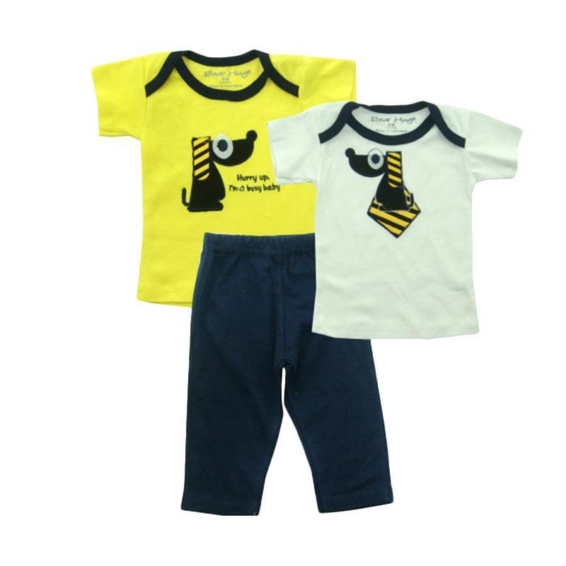 Bearhug Anjing Dasi Set for Baby Boy Set Pakaian Anak - Kuning [3 Pcs]