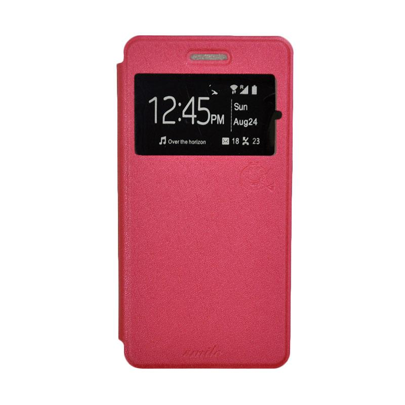 SMILE Standing Flip Cover Casing for Infinix Hot 3 X553 - Hot Pink