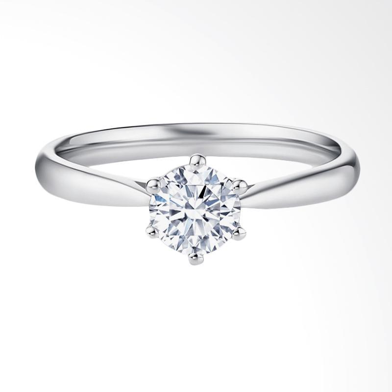 Tiaria Eternity Diamond Cincin Tunangan Berlian Emas Putih [18K]