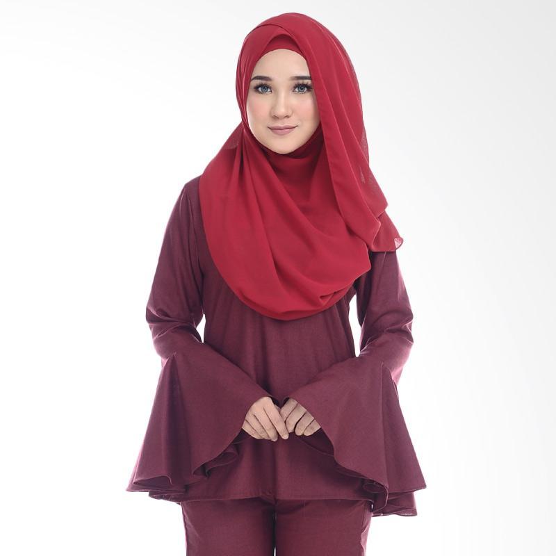 Cotton Bee Qaaida Bell Sleeves Blouse Atasan Wanita - Maroon