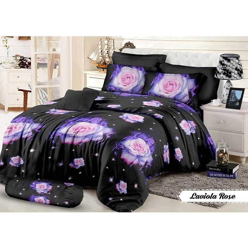 Khawla Disperse Laviola Rose Set Sprei dan Bed Cover