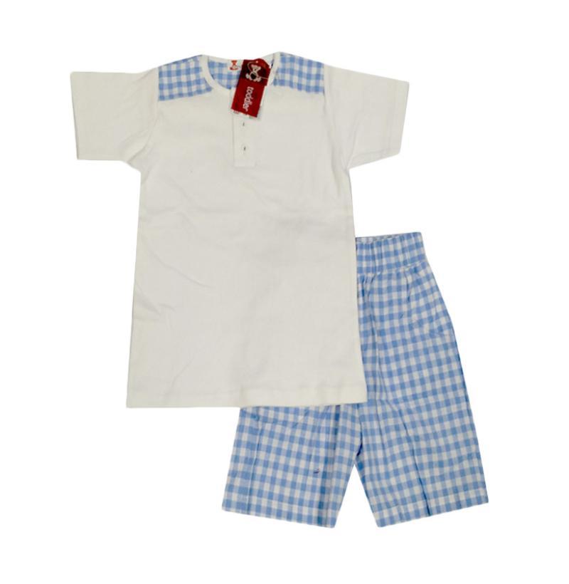 Tiny Button Toddler Boy Setelan Anak - Putih Kotak Biru