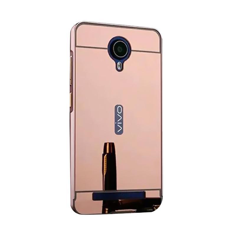 Bumper Case Mirror Sliding Casing for Vivo Y28 - Rose Gold