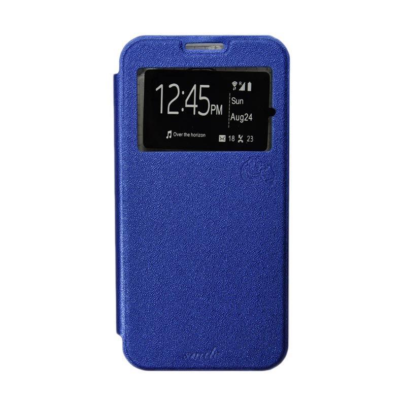 Smile Flip Cover Casing for Samsung Galaxy Grand Max - Biru Tua