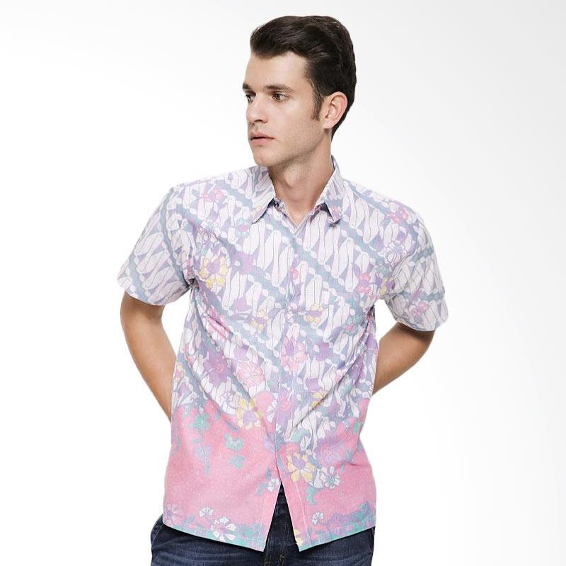 harga Batik Distro K7958 Batik Parang Kombinasi Kemeja Pria - Ungu Blibli.com