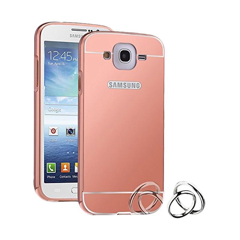 Case Bumper Metal with Back Case Sliding Casing for Samsung Grand Prime G530 - Rose Gold