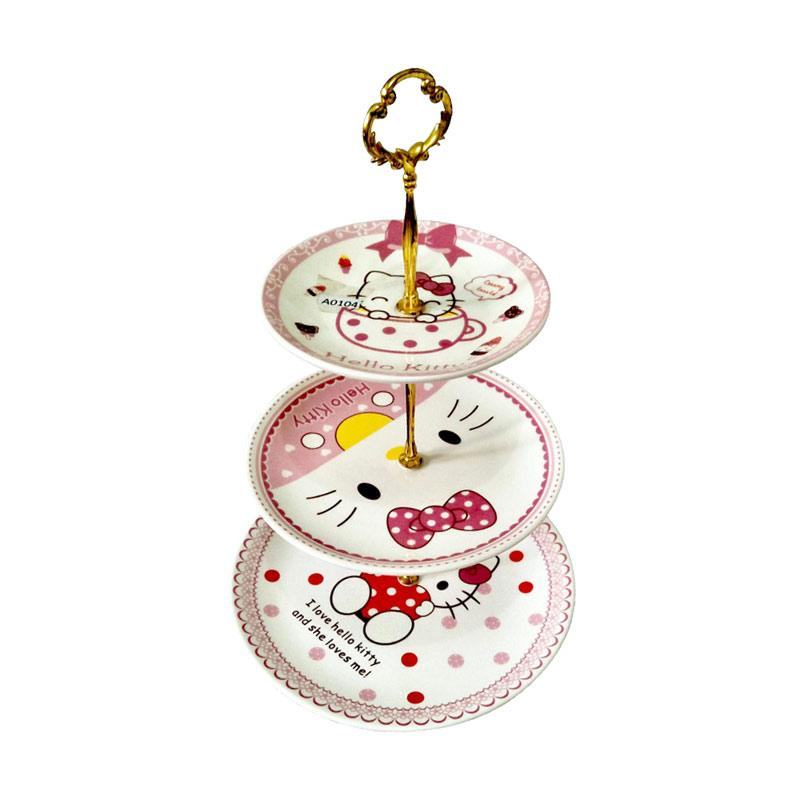 Hello Kitty HK Piring Susun 3 - White Red Yellow Pink
