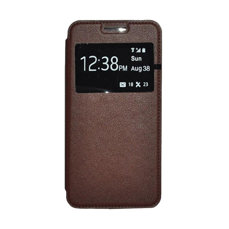 OEM Leather Book Cover Casing for Samsung Galaxy Note Edge - Brown