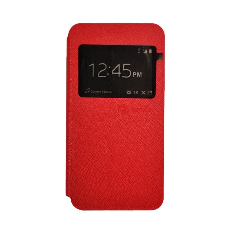 SMILE Leather Standing Flip Cover Casing for Vivo V5 Plus - Red