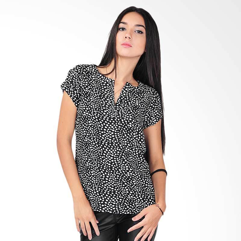 SJO & Simpaply Tomptail Print Women's Blouse - Black