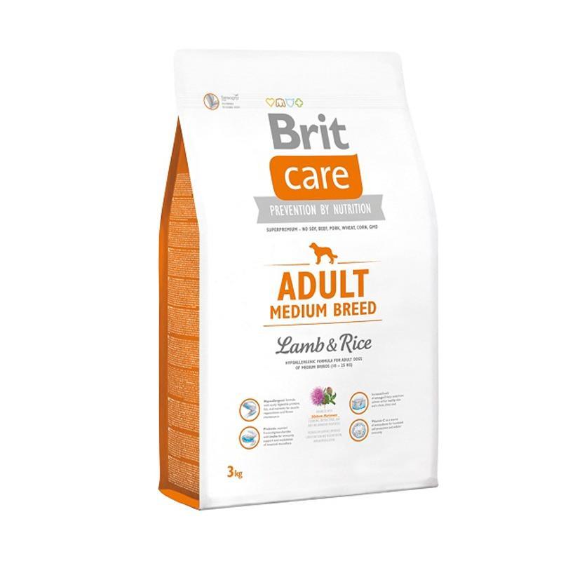 Brit Care Adult Medium Breed - Lamb & Rice Superpremium Dog Food [3 kg]