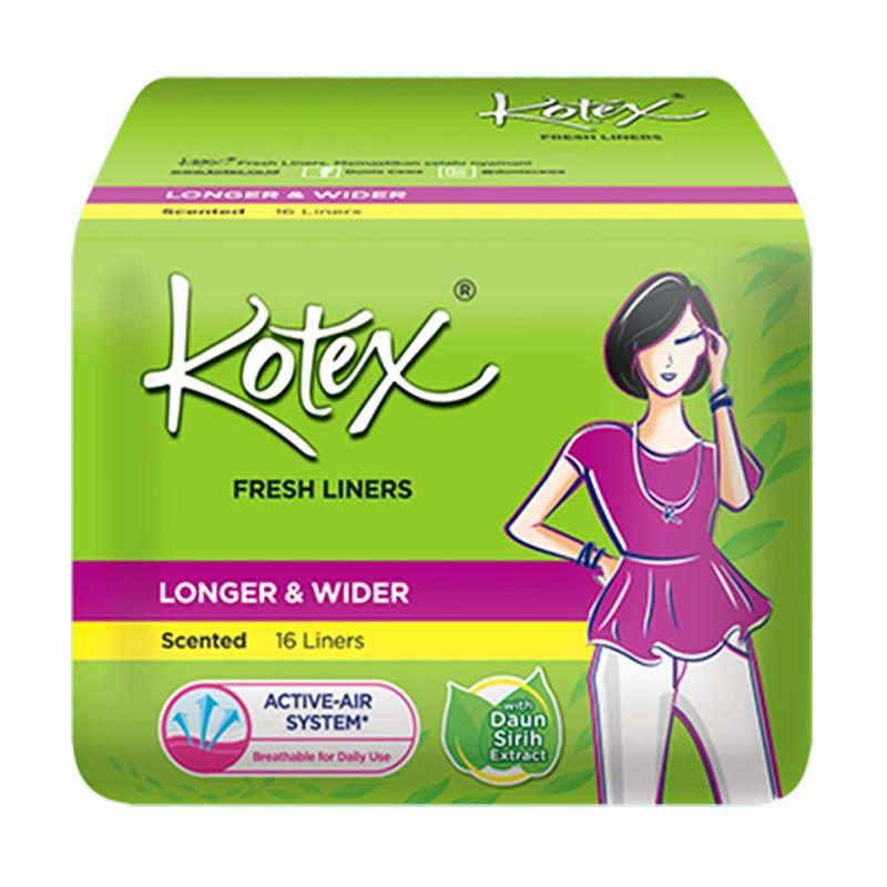 Kotex Fresh Liner Longer & Wider Betel Leaf Pantyliner [16 Pads]