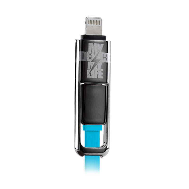 Remax 2in1 Transformer Data Cable - Blue [USB Micro + Apple Lightning]