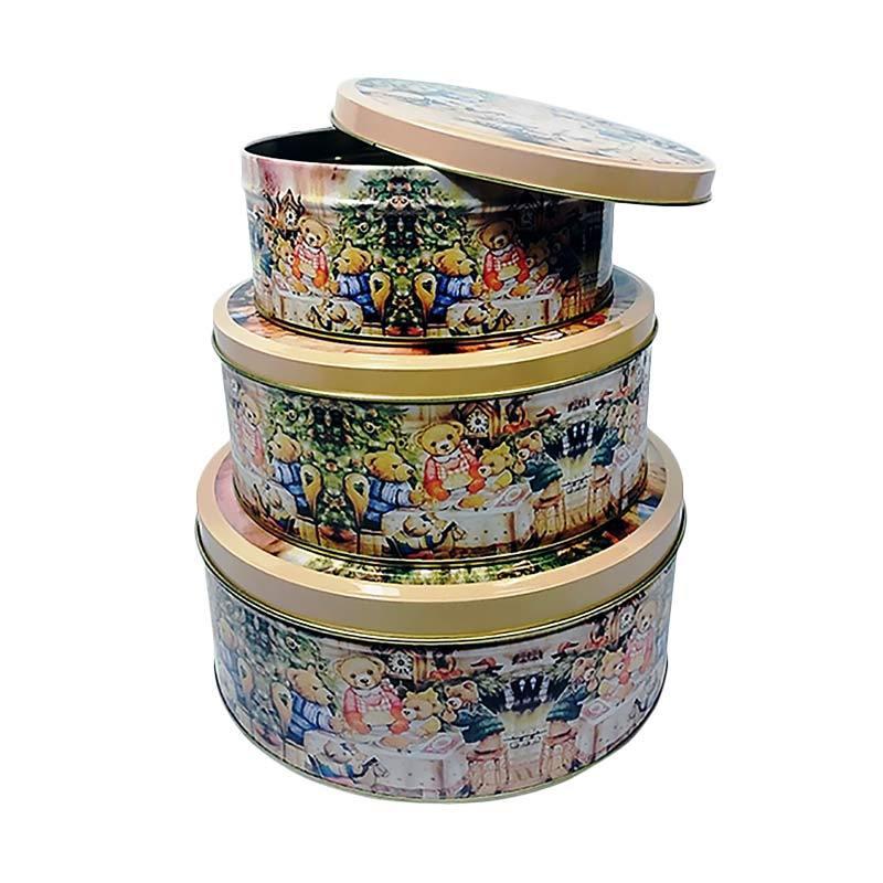 harga Ohome AN-VB0298B Kaleng Bulat Kotak Penyimpanan Multifungsi [3 pcs] Blibli.com